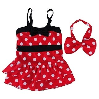 Wenchoice Little Girls Red Black Polka Dot Mickey Headband Swimsuit