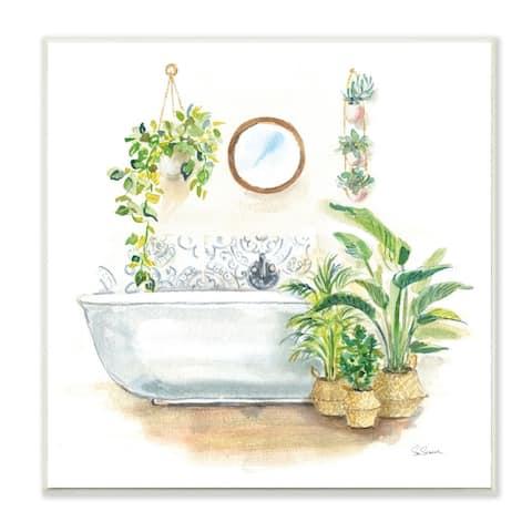 Stupell Industries Serene Bathroom Interior with Greenery Plants Painting,12 x 12, Wood Wall Art