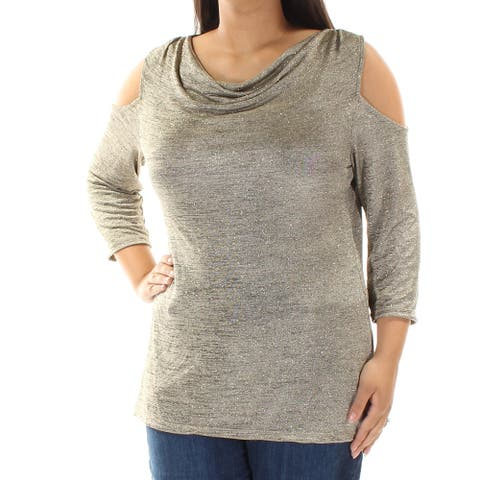 MSK Womens Silver Cut Out 3/4 Sleeve Scoop Neck Top Size L