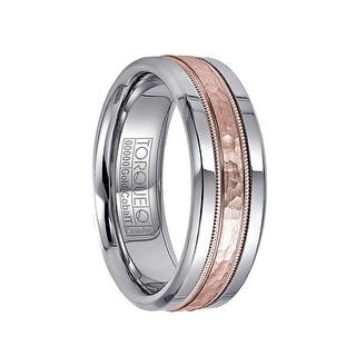Hammered 14k Rose Gold Milgran Inlaid White Cobalt Men's Ring by Crown Ring - 7.5mm