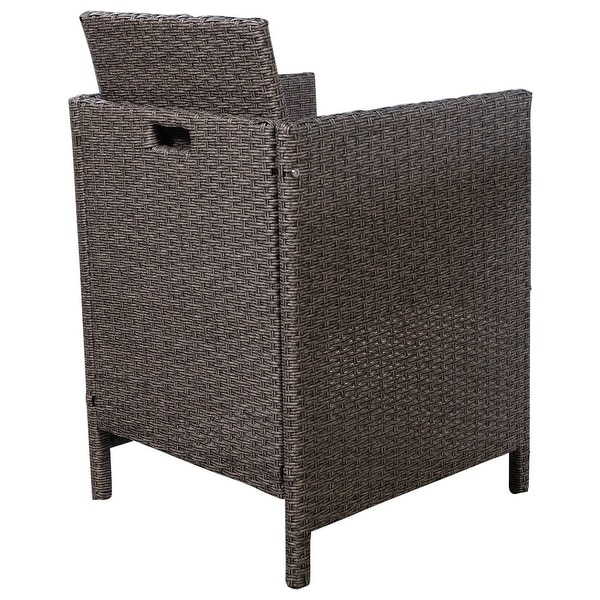 Costway 3 PCS Piece Cushioned Armrest Outdoor Wicker Patio Set