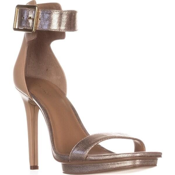 Calvin Klein Vable Ankle-Strap Square Toe Platform Sandals, Sandstorm - 9 us / 39 eu