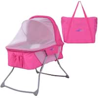 Costway Lightweight Foldable Baby Bassinet Rocking Bed Canopy Mosquito Net Carrying Bag - Pink