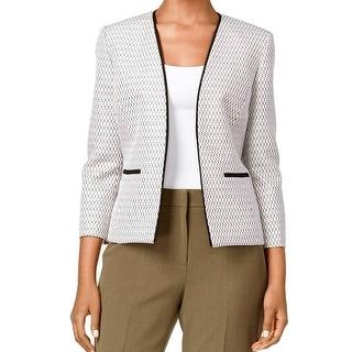 Kasper NEW Brown Black Women's Size 12 Tweed Open-Front Jacket