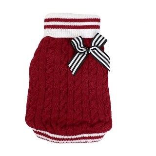 Unique Bargains Bowtie Detail Ribbed Hem Knitwear Apparel Coat Sweater Red M for Pet Dog Doggy