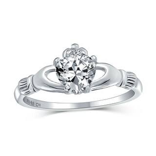 Link to BFF Celtic Irish Friendship CZ Heart Claddagh Ring 925 Sterling Silver Similar Items in Rings