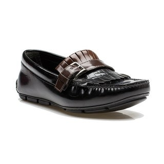Prada Men's Leather Driving Loafer Slip On Shoes Black Chocolate