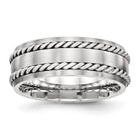 Stainless Steel Brushed with Silver Double Twist Inlay Ring (8 mm) - Sizes 8 - 13