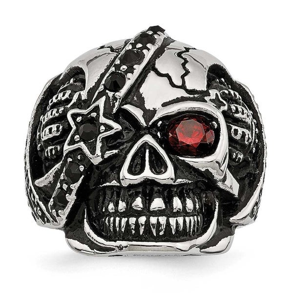 Stainless Steel Antiqued & Polished with Glass & Crystal Skull Ring - Sizes 9 - 12