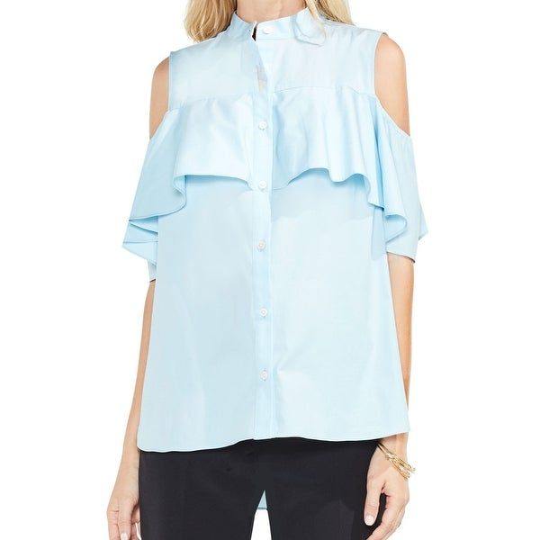 1f209bfc6ca25f Shop Vince Camuto Womens Ruffle Cold-Shoulder Button Shirt - On Sale - Free  Shipping On Orders Over $45 - Overstock - 26926916