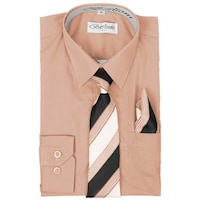 f788468fb Berlioni Little Boys Blush Striped Necktie Hanky 3 Pc Dress Shirt Set