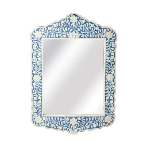 Offex Vivienne Blue Bone Inlay Free Form Wall Mirror - White