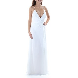 Womens White Spaghetti Strap Full Length Pencil Wedding Dress Size: 0