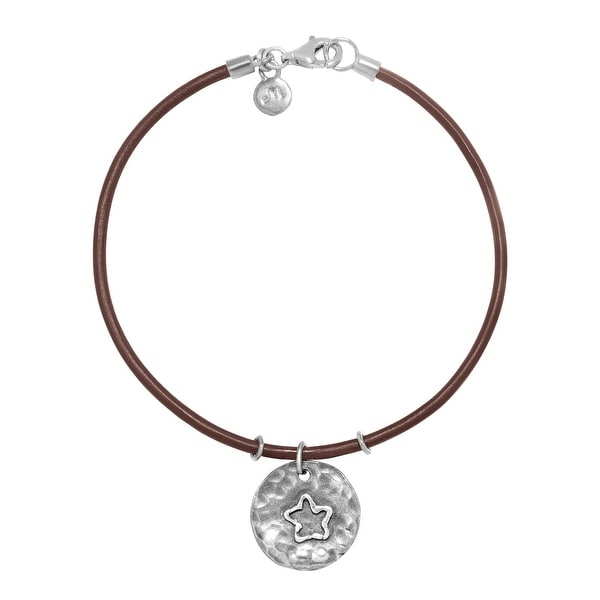 Hammered Star Charm Bracelet in Sterling Silver and Leather - White