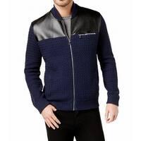 INC Mens Large Faux Leather Chevron Knit Zip-Front Jacket
