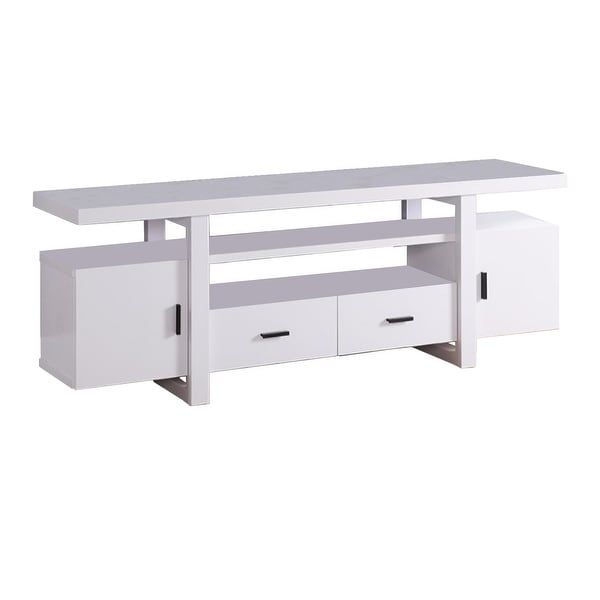 Eye- Catching TV Stand With Open Shelves, White