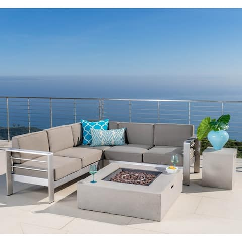 Cape Coral Outdoor 5-piece V-shaped Sofa Set with Fire Table by Christopher Knight Home