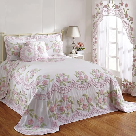 Better Trends Bloomfield Bedspread and Shams in Floral Design 100% Cotton Tufted Chenille