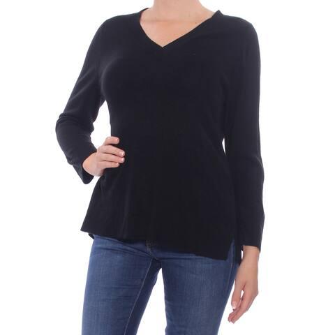 KAREN SCOTT Womens Black Slitted 3/4 Sleeve V Neck Sweater Size: M
