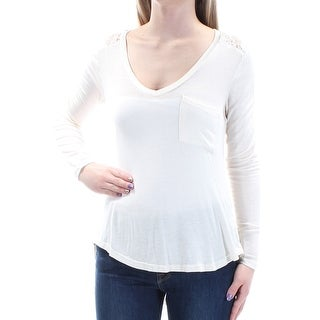 Womens Ivory Long Sleeve V Neck Hi-Lo Top Size XS