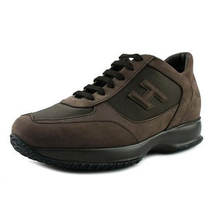 Hogan New Interactive Mod H 3D Youth Round Toe Leather Brown Sneakers