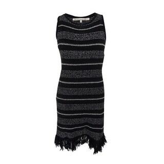 Rachel Roy Women's Wool-Blend Striped Fringe Sweater Dress