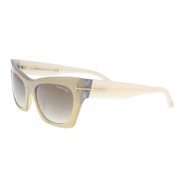 f912fba25620 Shop Tom Ford FT0459 S 38F Kasia Beige Cream Cat Eye Sunglasses - 55 ...