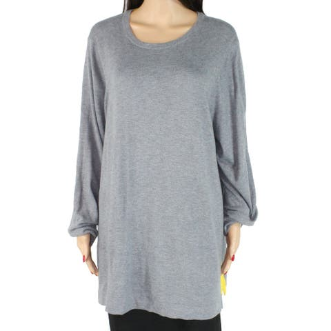 Charter Club Womens Sweater Gray Yellow 1X Plus Contrast-Trim Split-Hem