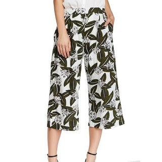 Elodie NEW White Green Women's Size Large L Pleated Gaucho Crop Pants