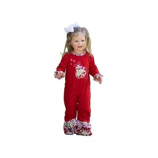 AnnLoren Baby Girls Red Polka Dot Floral Print Lady Bug Romper