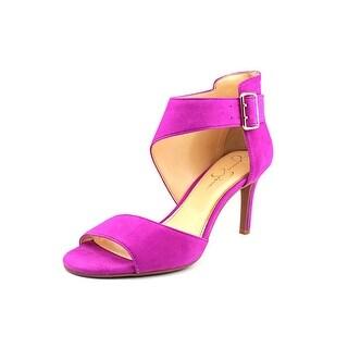 Jessica Simpson Marrionn Women Open-Toe Leather Purple Heels