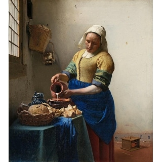 Easy Art Prints Johannes Vermeer's 'The Milkmaid' Premium Canvas Art