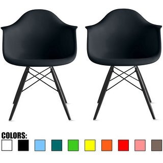2xhome Set Of Two (2) Eames Dining Room Arm Chair With Black Wooden Eiffel Style Legs