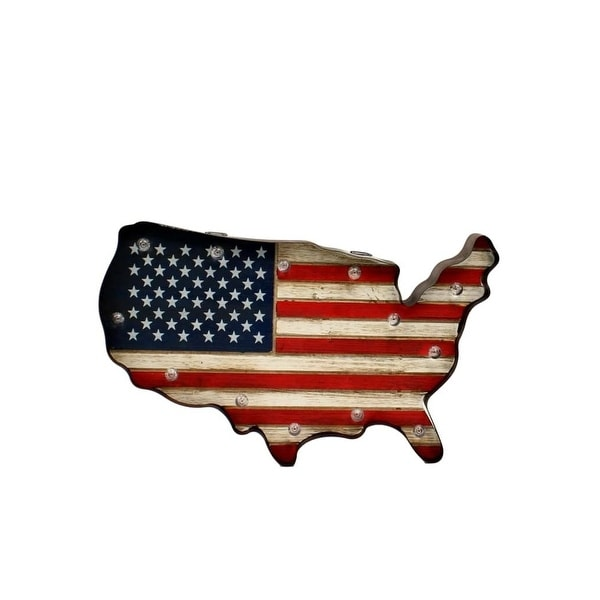 Western Moments Wall Decor Lighted American Flag Red White Blue - 11 x 18