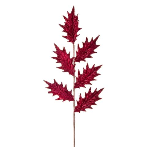 """Set of 12 Red and Brown Contemporary Holly Leaf Stem 30.5"""""""