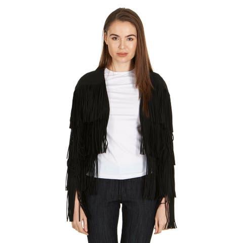 Tom Ford Womens Black Fringe Long Sleeve Jacket Blazer IT38/US2~RTL$3890 - 2