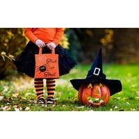 Halloween pumpkin Candy Bag trick or treat or happy halloween tote bag