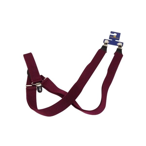 Club Room Men's 25mm Skinny Solid Suspenders (Burgundy, OS) - Burgundy - os