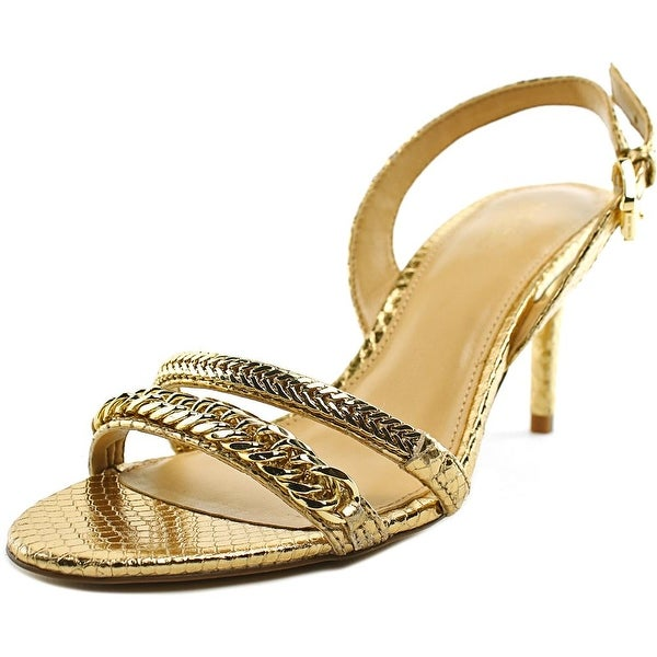 Michael Michael Kors Jackie Mid Sandal Women Open Toe Leather Gold Sandals