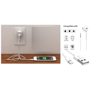 Cellvare Wall , Lighting Cable & Earpod for Apple iPhone in Bulk Includes Convenient Travel Pouch-White