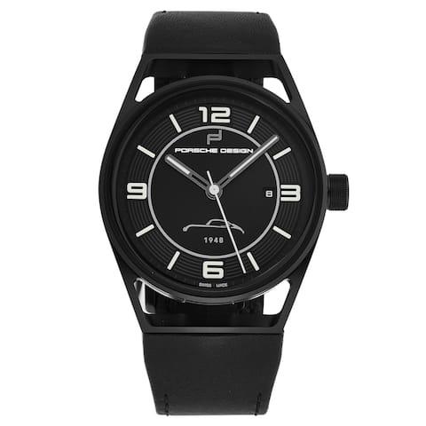 Porsche men's 'datetimer' limited edition black dial black leather strap automatic watch 6020.3.02.303.07.2