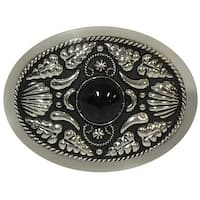 German Silver Tone Belt Buckle with Onyx Stone