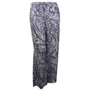 MICHAEL Michael Kors Women's Paisley Wide-Leg Pants (14, Black) - 14
