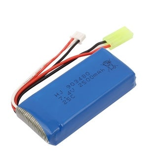 DC 7.4V 2500mAh Rechargable Lithium Battery Pack Blue w Green Connector