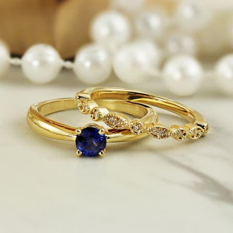 Auriya 14k Gold 1/2ctw Vintage Solitaire Sapphire Engagement Ring Set 1/6ctw