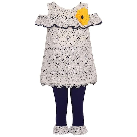 7dfaedead3d Rare Editions Little Girls Navy Lace Cold-Shoulder Top 2 Pc Legging Set