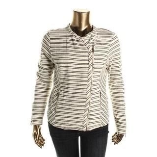 Lucky Brand Womens Asymmetric Striped Full Zip Sweater