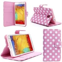 i-Blason-Samsung Galaxy Note III Smart Phone Leather Slim Book-Dalmatian Pink