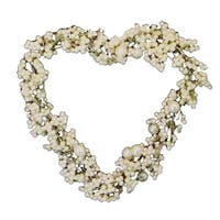 Set of 4 White Pearls and Beads Medium Heart Christmas Ornaments 3""