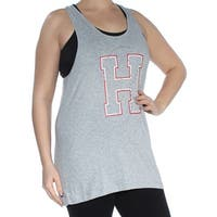 TOMMY HILFIGER Womens Gray Sleeveless Scoop Neck Top  Size: L